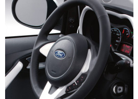 ford-ka-09-2008-05-2014-leather-steering-wheel-black-leather-with-pearl-white-bezel 1573470