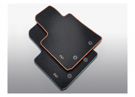 B9143ADE00RGB Hyundai i10 (2014 - 2017) floor mats, velour with orange accent, LHD