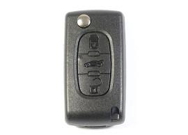 Peugeot klapsleutelbehuizing met 3 knoppen batterij op printplaat